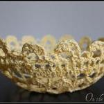 Lace Bowl Crochet Doily Basket Yell..