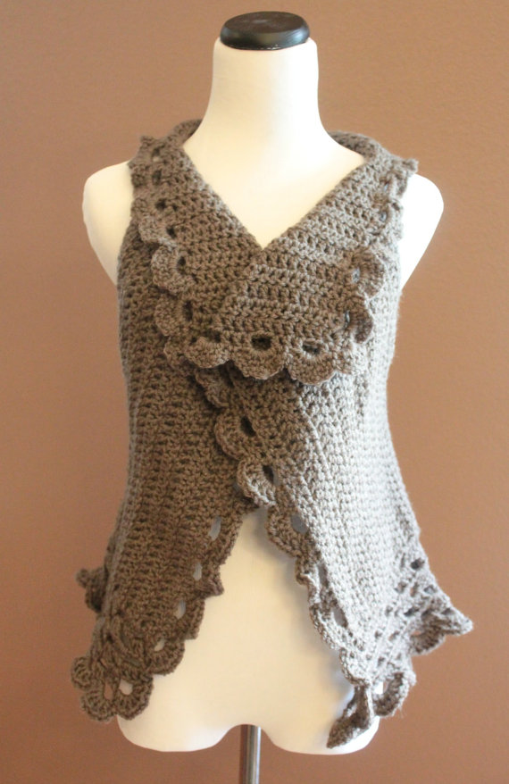 Boho Crochet Sweater Cardigan Vest Taupe On Luulla