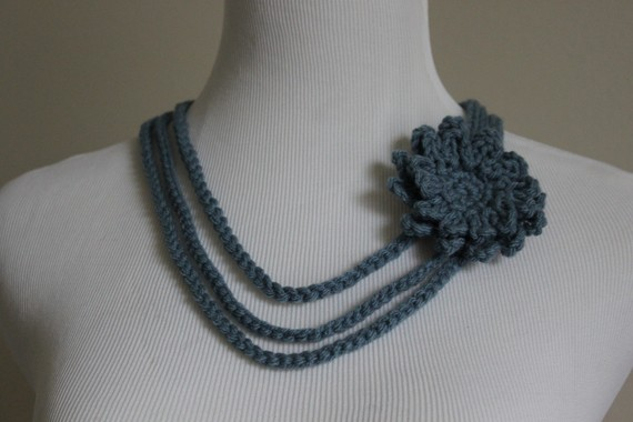 Crochet Necklace Flower Brooch Dusty Blue