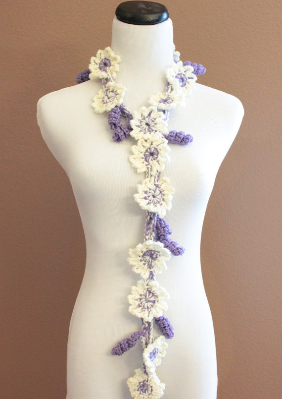 Crochet Flower Scarf Lariat Ivory Cream and Purple Spring Fashion