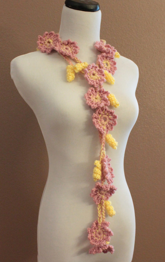 Crochet Flower Scarf Lariat Spring Fashion Pink and Yellow