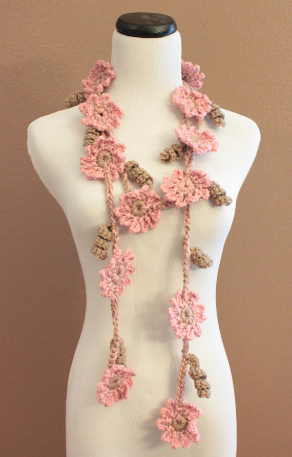 Crochet Flower Scarf Lariat Womens Fashion Pink And Brown Flowers